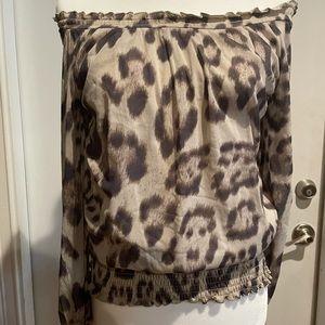 INC Cheetah Print Off the Shoulder Blouse